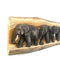 """Teak Wood Carving Of Three Elephants Family Natural Art Hand Carved Elephant Home Decor Wall Hanging / Gift sculpture 21""""X5.75"""""""