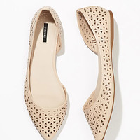 Perforated Faux Leather Flats