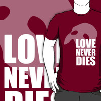 Love Never Dies typography w/ mask - white