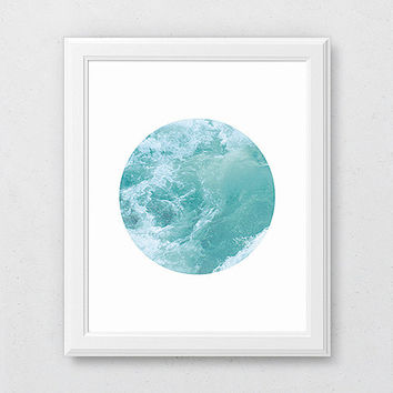 Ocean Waves Print, Circle Print, Turquoise Art Print, Summer Wall Decor, Summer Art, Ocean Printable, Circle Art Print, Ocean Water Print