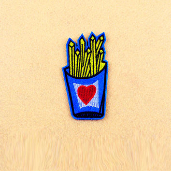 French Fries Patch  - Iron On Patch - Embroidered Patch (Size : 5.5cm x 10.3cm)