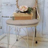 Ice cream chair white wire metal vintage furniture blue striped ticking fabric ruffled muslin covered back Anita Spero