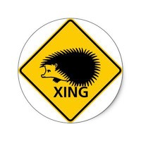 Hedgehog Crossing Highway Sign Stickers from Zazzle.com