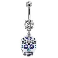 White Sugar Skull Belly Button Ring