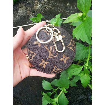 LV Louis Vuitton Fashion Hot Sale Leather Key Pouch Round Small Key Wallet