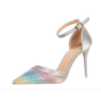 Silver and Rainbow Stilettos