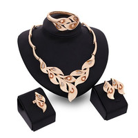 Faux Crystal Leaf Shape Necklace Bracelet Ring and Earrings
