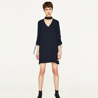 CHOKER DRESS WITH GATHERED SLEEVES DETAILS