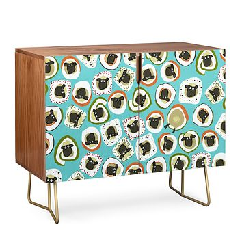 Sharon Turner sheep sushi blue Credenza