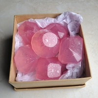 Hawaiian Plumeria Pink Soap Jewels - Travel Soap, Guest Soap, Novelty Soap - 6 soaps, Gift Pack