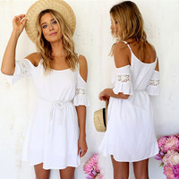 2015 Newest!! Women Summer Fashion Sweet Casual Lace White Off-shoulder Loose Strap Mini Dress