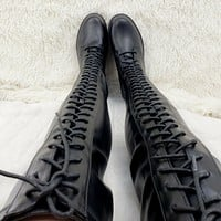 Savage Goth Punk Rock Stretch PU Lace Up Platform Over The Knee Thigh Boots