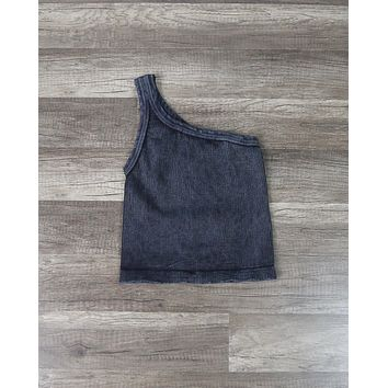 Vintage Wash One Shoulder Crop Top in Black