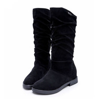 Ladies Boots   Australia Flat Flock Shoes Mid-Calf Boots Casual Woman Single Boots Size 35-40