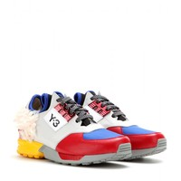 y-3 - zx zip leather and faux-fur sneakers