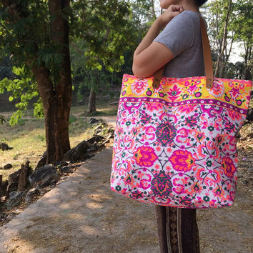 Summer Large Tote Canvas bag Summer Bag Colorful Neon Printed Canvas Tribal Hobo Hippie bag Weekender bag Beach bag Boho Bag Festival Purse
