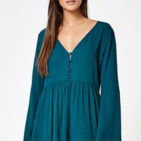 Kendall & Kylie Button-Down Long Sleeve Romper at PacSun.com