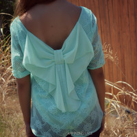 Charlotte Lace Mint Bow Back Top