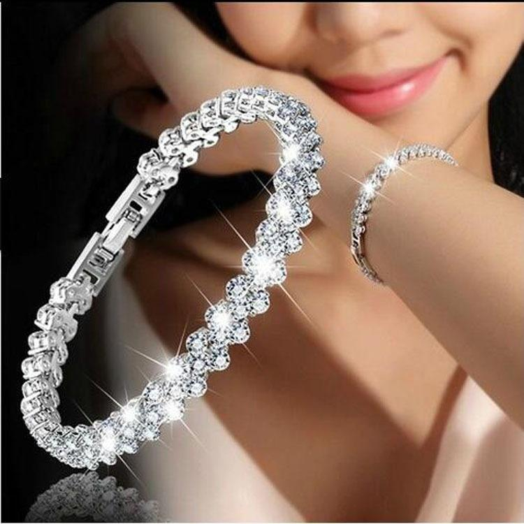 Image of Jewelry Roman sterling silver New Fashion Roman Style Woman 925 Sterling Silver Crystal Diamond Bracelets Gifts
