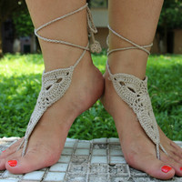 Handmade Crochet Barefoot Sandals ,Nude shoes, Foot jewelry, Wedding, Victorian Lace, Sexy, Yoga, Anklet , Bellydance,Steampunk, Summer Beach Pool,Ethnic,Gift-18