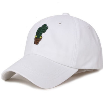 White Cactus Embroidered Plain Hat Baseball Cap