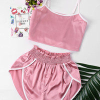 ZAN.STYLE High Cut Shorts Two Piece Set Color Patchwork Halter Strap Camis Cropped Top Ruffles Shorts Girl Beach Suit Sweet Pink-in Women's Sets from Women's Clothing & Accessories on Aliexpress.com | Alibaba Group