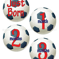 Baby Monthly Stickers- Onesuit Iron Ons- Soccer Stickers- Printable Stickers- Baby Milestones- Baby Onesuit Photo Printables