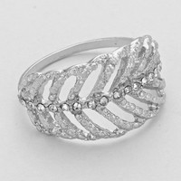 Rhinestone Leaf Cutout Ring
