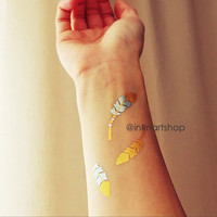 NEW OFFER 3pcs Metallic Feather Gold Silver Tattoo  - InknArt Temporary Tattoo - wrist quote body sticker fake  wedding