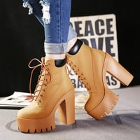 Women Lace Up Thick Heel Platform Ankle Martin Boots