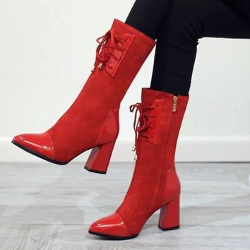 Women Vintage Suede Leather Patchwork Square Heel Boots