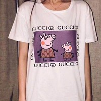 "Hot Sale ""Stussy"" Trending Gucci Peppa Pig Women Men Summer Spoof Print Short Sleeve Round Collar Couple Cotton T-Shirt Pullover Top"
