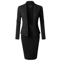 Long Sleeve Open Blazer and High Waisted Pencil Skirt Suit Set (CLEARANCE)