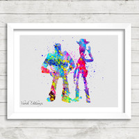 Toy Story, Buzz Lightyear and Woody, Disney, Watercolor Print, Baby Nursery Room Art, Minimalist Home Decor, Not Framed, Buy 2 Get 1 Free!