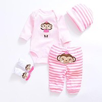 Baby Clothing Sets New Newborn Boy Girl Clothes Set Cotton Long Sleeves Babywear Hat+T-shirt+Pants+Socks Jumpsuits Infant Outfit