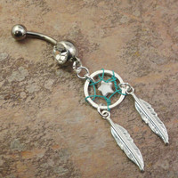 Star Dream Catcher Belly Button Jewelry Turquoise and White