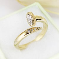 Women's Yellow Gold Plated Nail Ring Jewelry Crystal Wrap Ring Size Adjustable
