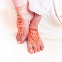 Barefoot sandals coral crochet nude shoes