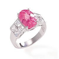 Rhodium Plated Ring with Clear and Pink Cubic Zirconias