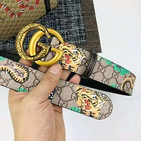 LV Louis Vuitton new trend tiger printing double G men's smooth buckle belt