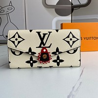 Louis Vuitton LV new men and women printing letters personalized gold buckle long wallet clutch