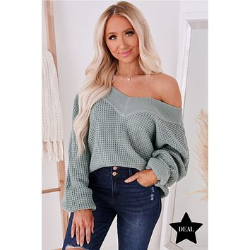 Worthy Of You V-Neck Sweater (Light Green)