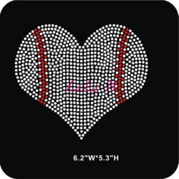 Baseball heart iron on hot fix rhinestone bling transfer - DIY motif design appliqué for shirts t shirts tees - custom hotfix