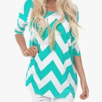 A Touch Of Color Chevron 3/4 Sleeve Top