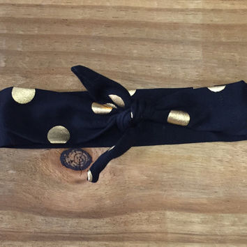 Black & Gold Dot Knotted Headband