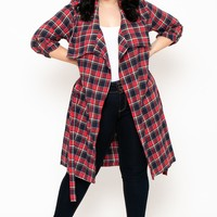 Plus Size Plaid Woven Jacket - Red