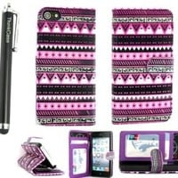 ThinkCase Tribal Design PU leather Wallet PU Leather Case Card Holder Flip Case Cover for iPhone 5 5G Colorful Purple with ThinkCase Stylus Pen
