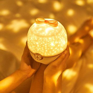 Fantasy Starry Sky Rotating Projector Lamp Romantic Bluetooth Music Table Lamp Children Girls Atmosphere Remote Control Night Light Gift
