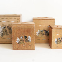 Vintage Wood Rooster Kitchen Canisters, Black and Gold Chicken Print Canister Set for Flour Sugar Tea Coffee, MCM Kitchen
