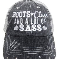 """Boots Class and a Lot of Sass"" Crystal Grey Baseball Trucker Cap Hat Western"